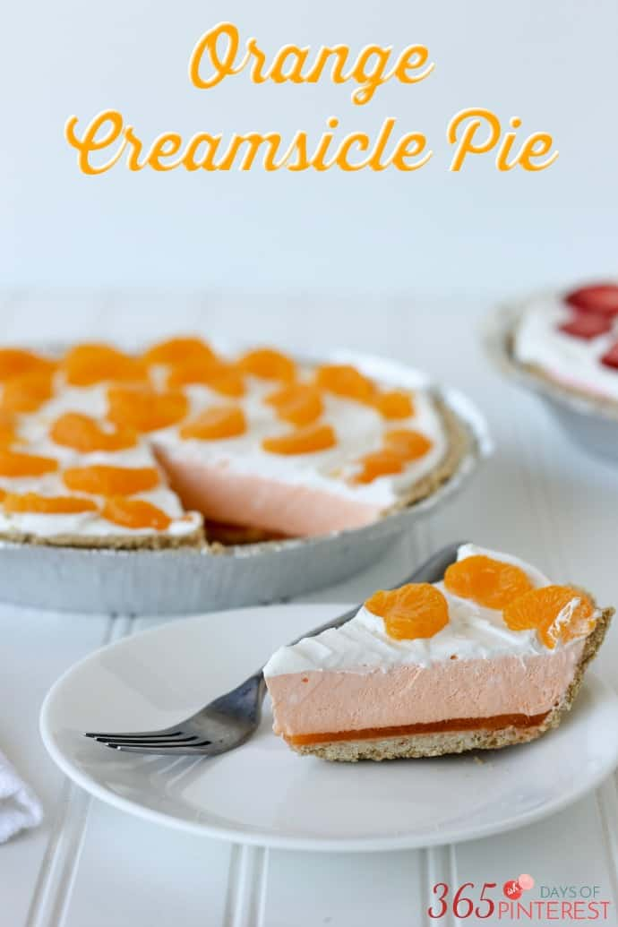 Orange Creamsicle Pie tastes just like the frozen treat we grew up loving, but in delicious pie form! via @nmburk