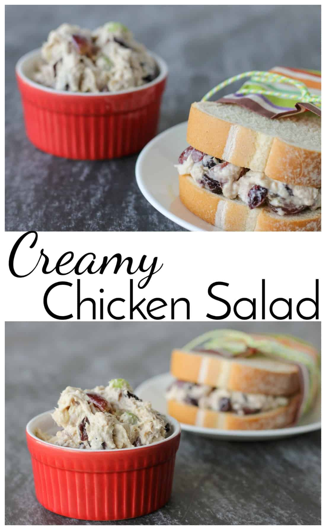 Creamy Chicken Salad is a delicious lunch option and a great way to use up leftover chicken. Don't forget all the yummy add-ins that make this recipe unique! via @nmburk