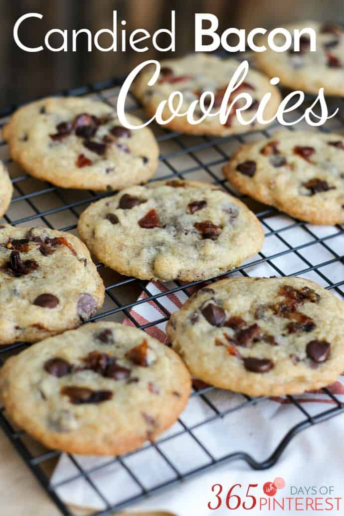 Add a little salty to your sweet with these delicious Candied Bacon Chocolate Chip Cookies! They are a fun twist on a classic. via @nmburk