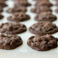 A rich chocolate cookie bursting with mint, these Chocolate Mint Chip Cookies will be the star of any dessert tray. Just add milk!