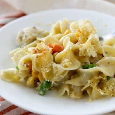 Perfect for busy fall evenings, Creamy Chicken Noodle Casserole is packed with vegetables and comes together in minutes. It's the perfect comfort food!