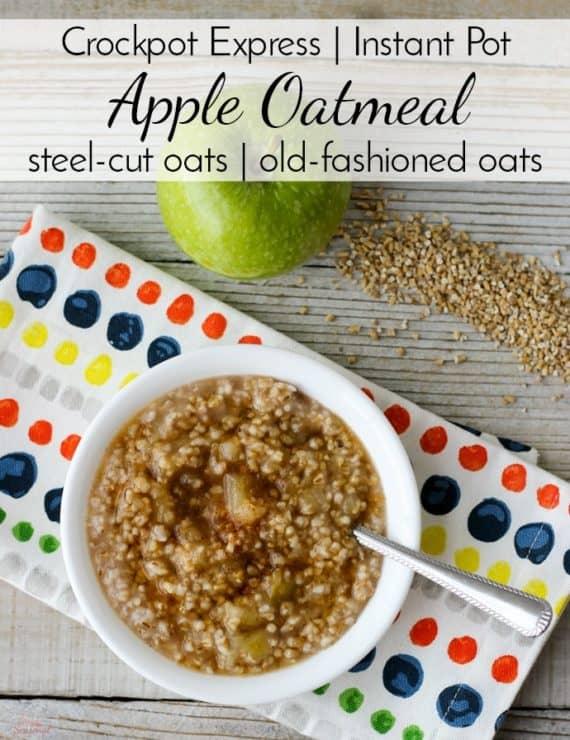 Steel cut oats apple oatmeal in the bowl | Crockpot Express Apple Oatmeal