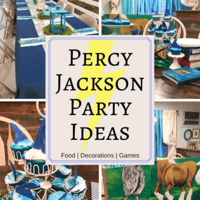Percy Jackson party ideas collage | Throw an unforgettable party with these fun Percy Jackson Party Ideas! Find great ideas for what food to serve, themed decorations and silly games and activities that any Rick Riordan fan will love.