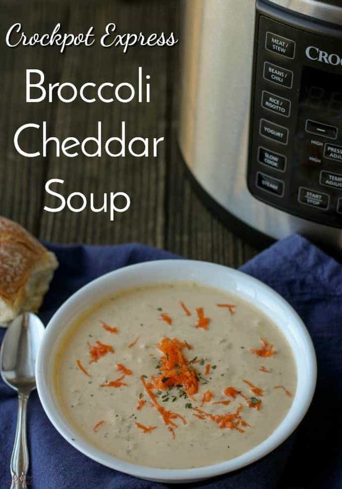 Crockpot Express Broccoli Cheddar Soup checks all the boxes. It's creamy, comforting, delicious, and easy. And thanks to the Crockpot Express, it's on the table in under 30 minutes!