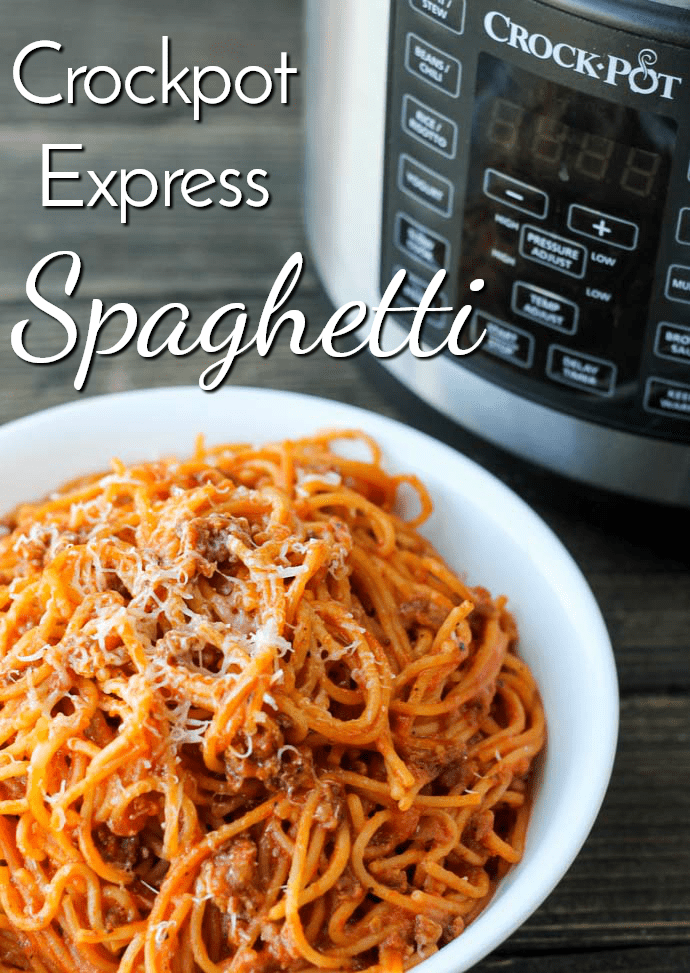 Crockpot Express Spaghetti makes a family favorite even easier to get on the table in record time. It's perfect for busy weeknights and makes for great leftovers, too! #crockpotexpress #crockpotexpressrecipe #easyrecipe #dinnerrecipe #spaghetti  via @nmburk