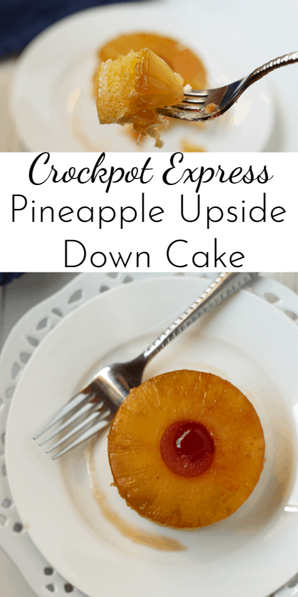 Crockpot Express Pineapple Upside Down Cake has all the flavors of the original but it's quicker and easier to make! (Especially when you start with a boxed cake mix.) via @nmburk