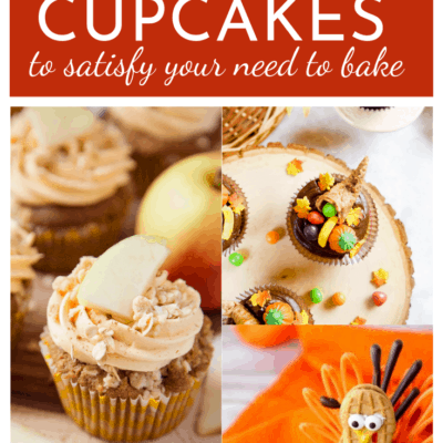 collage image of cupcakes with title that reads: 15 fall cupcakes to satisfy your need to bake