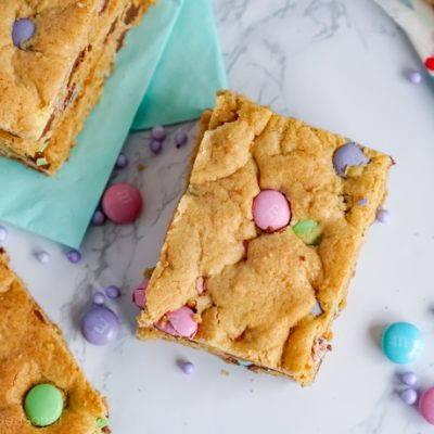 top down view of sliced Easter Cookie Bar