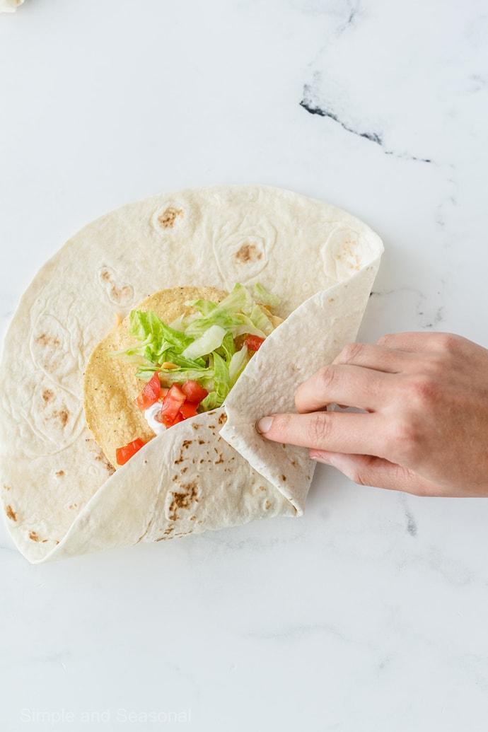 folding flour tortilla