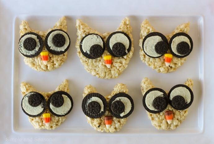 platter of 6 rice krispie treat owls