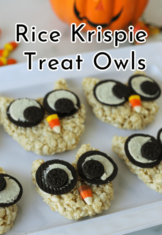 text label reads: rice krispie treat owls; owls on a platter with candy corn in the background