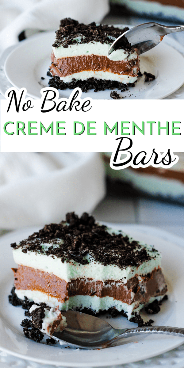 A creamy chocolate pudding layer is sandwiched between light and airy marshmallow mint layers to create these delicious Creme de Menthe Bars. via @nmburk