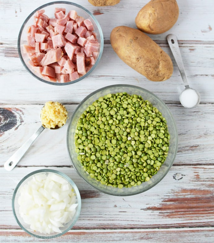 ingredients for making slow cooker split pea soup