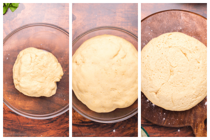 side by side images of bread in bowl, showing the rise of the dough