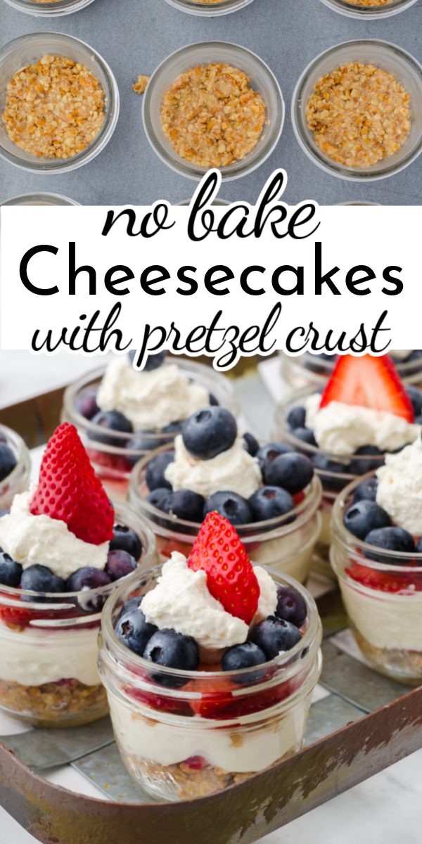 These easy no bake mini cheesecakes are a delightful little dessert for entertaining.The pretzel crust creates a perfect salty sweet combo! via @nmburk