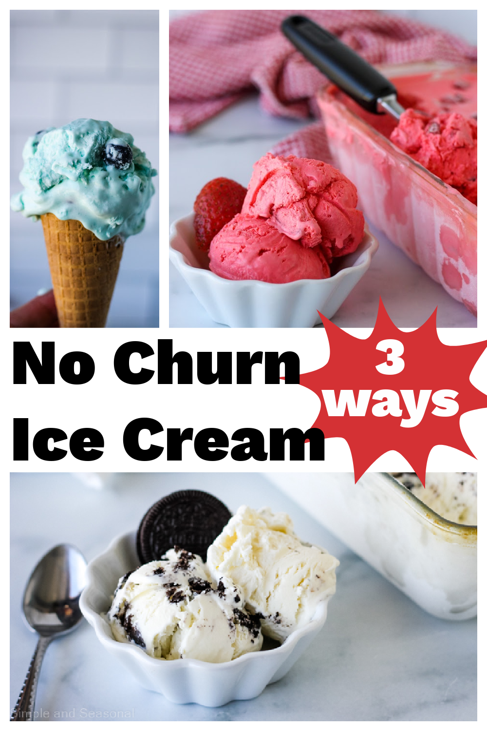 Start with a basic no churn ice cream recipe and make it your own with these 3 different options for flavoring! Homemade ice cream doesn't get any easier than this! via @nmburk