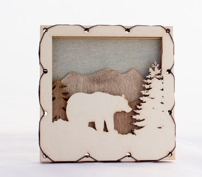 Bear with Mountains Home Decor with four layers of wood