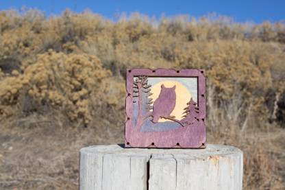 Owl with Mountains Home Decor with four layers of wood
