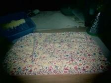 Wax sprinkled on fabric