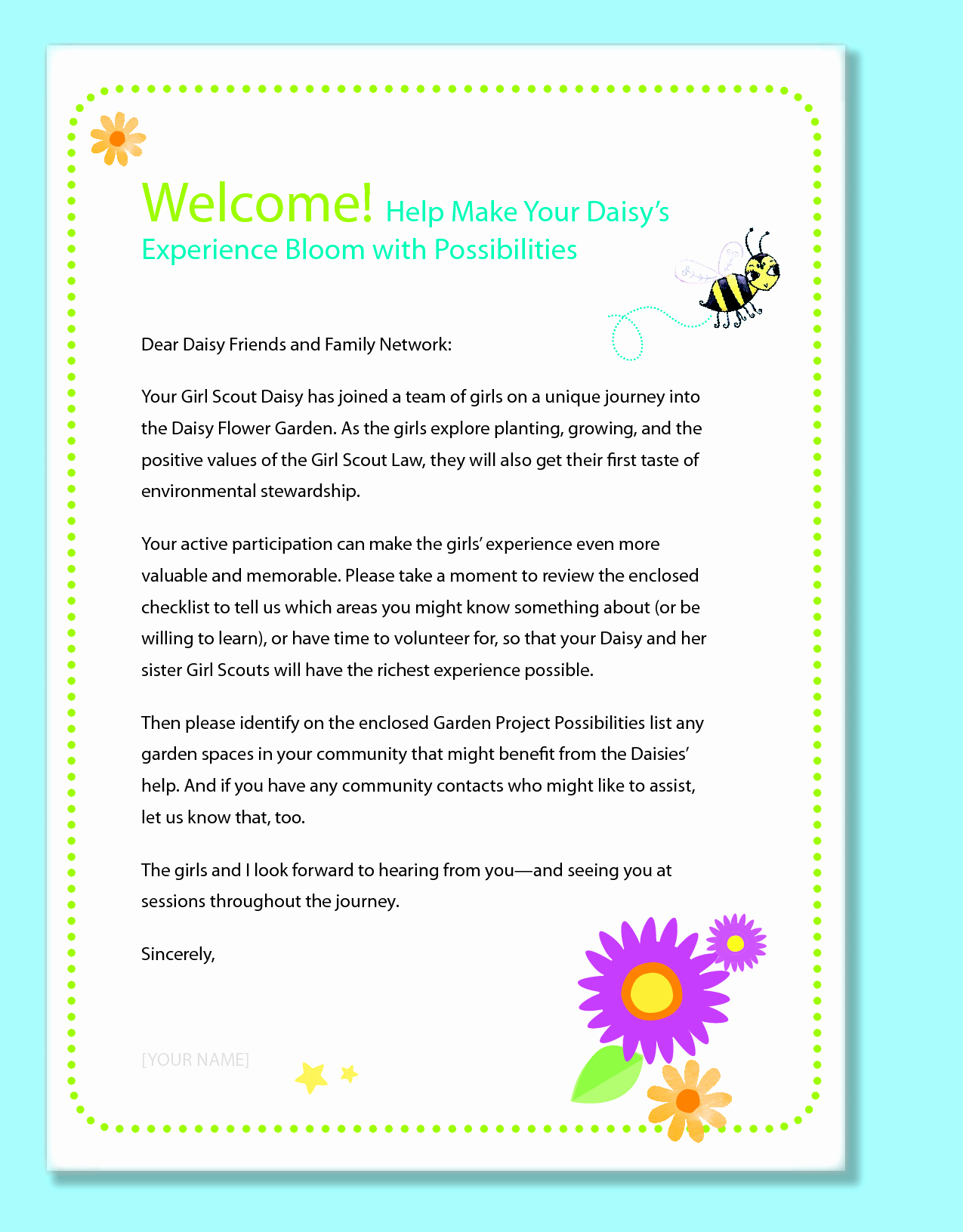 Preschool Welcome Letter To Parents From Teacher Template
