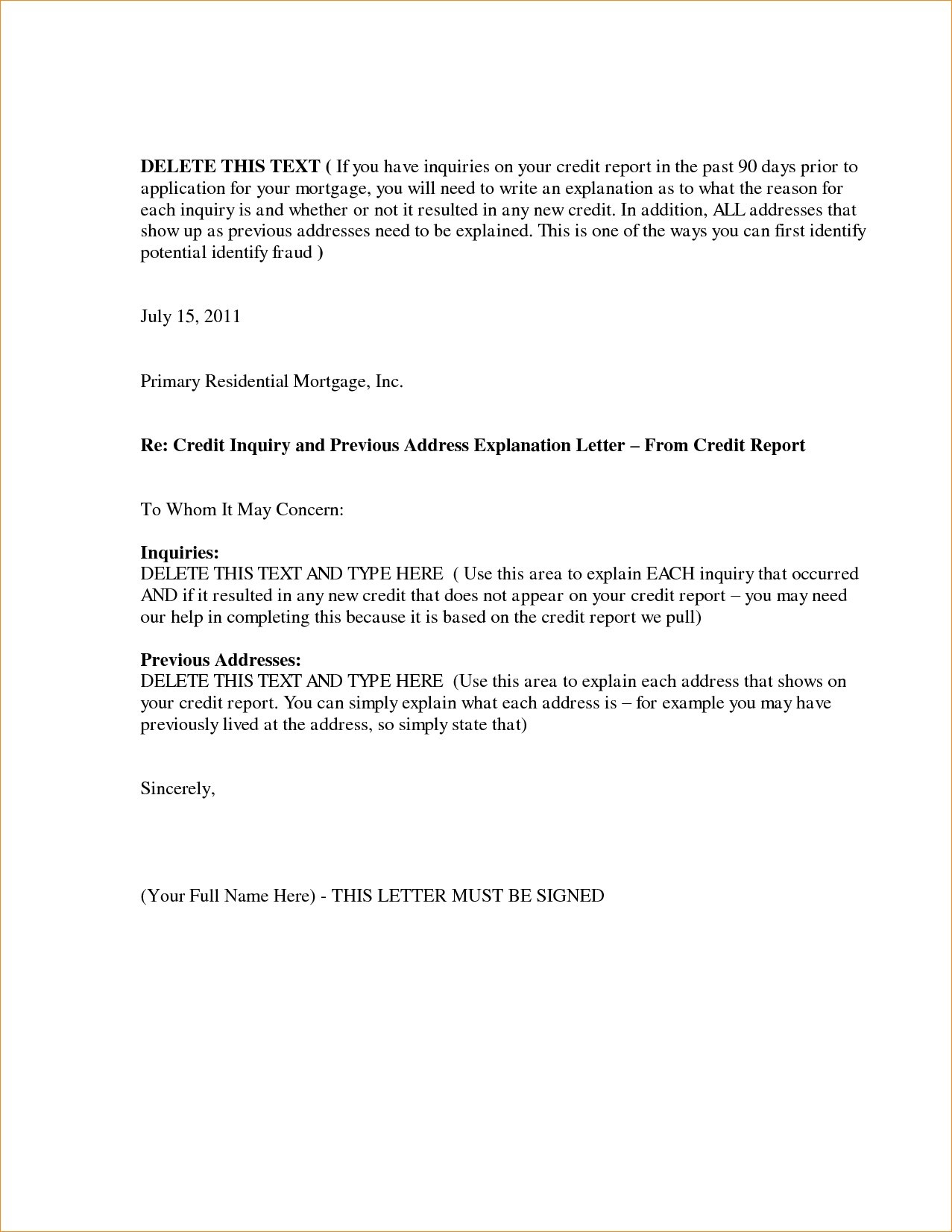 Sample Letter Explaining Gap In Employment For Mortgage Loan