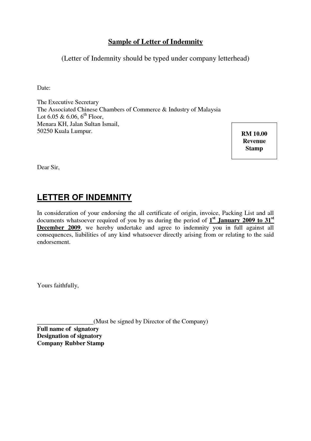 Letter Of Indemnification Template Examples Letter