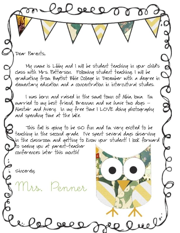 Preschool Welcome Letter To Pas From Teacher Template Samples