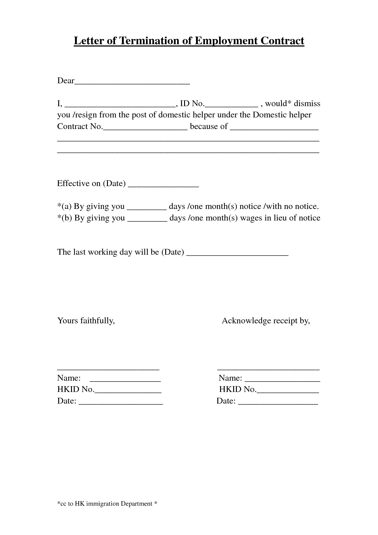 Separation Letter To Employee Template Examples Letter