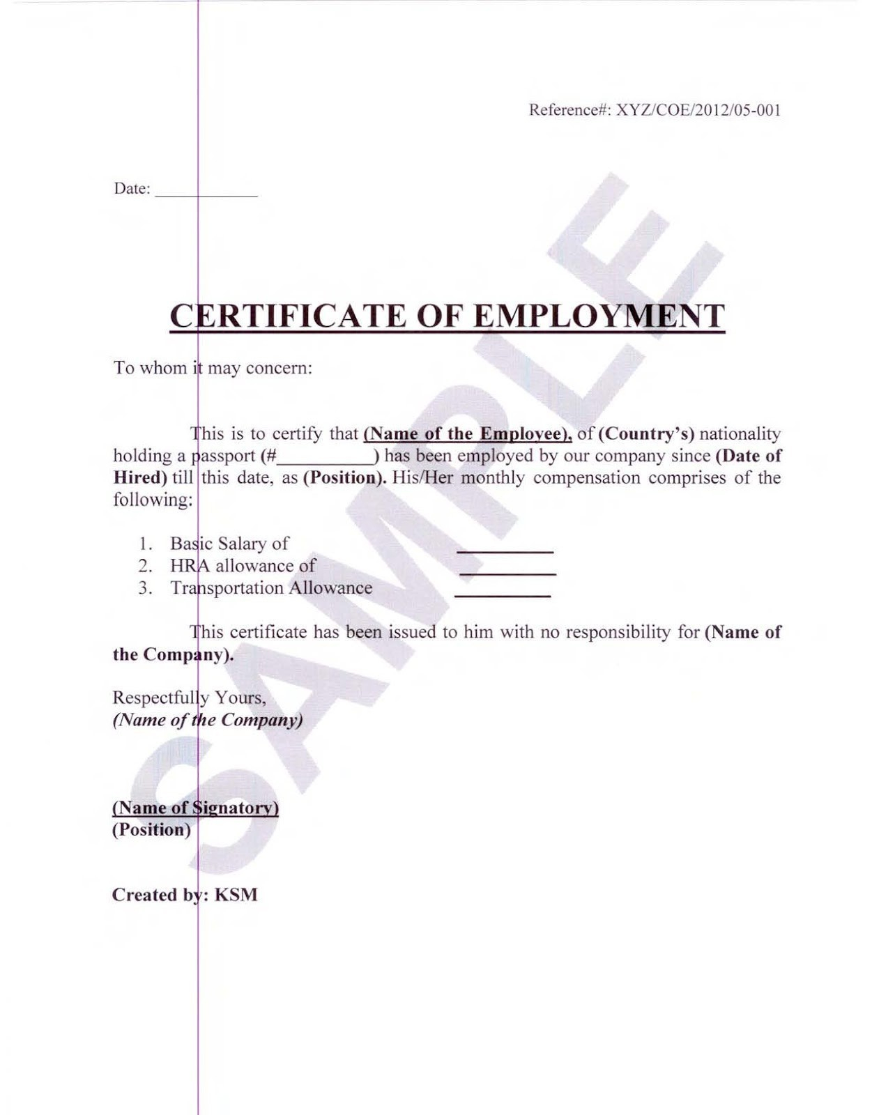 Certificate of employment sample letter for secretary