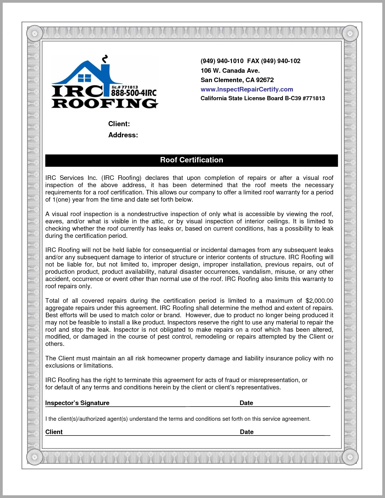 Roof Inspection Letter Template Samples  Letter Template Collection