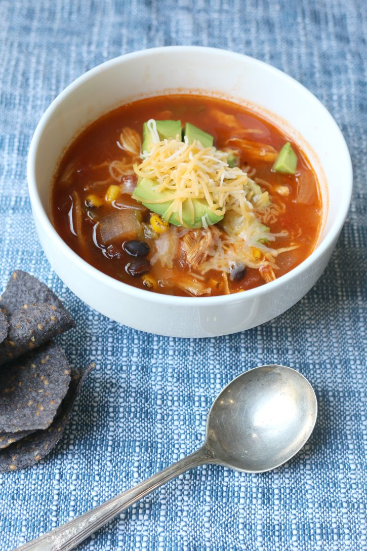 slow cooker chicken recipes, Easy Slow Cooker Chicken Tortilla Soup.