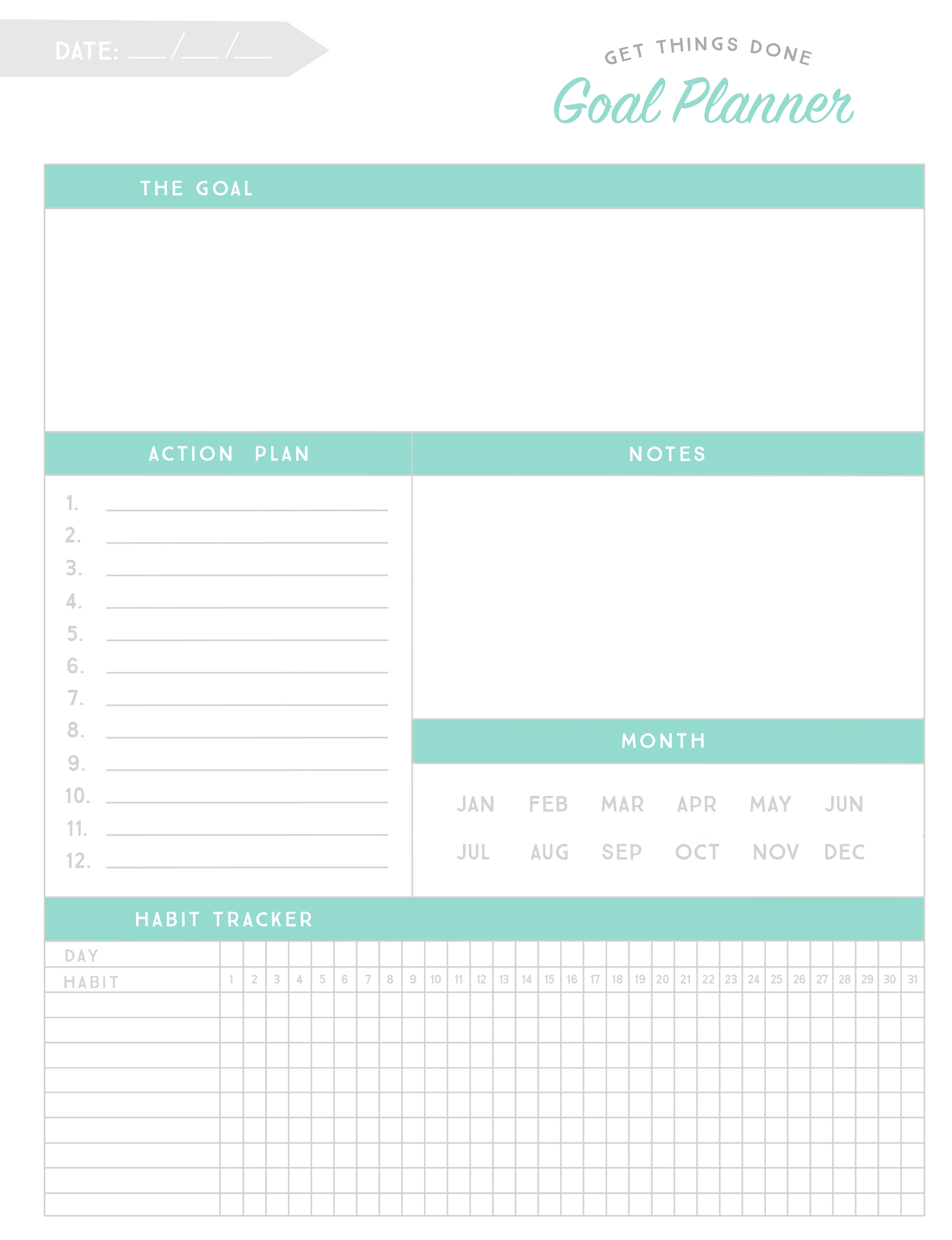 Printable Goal Planner Worksheet