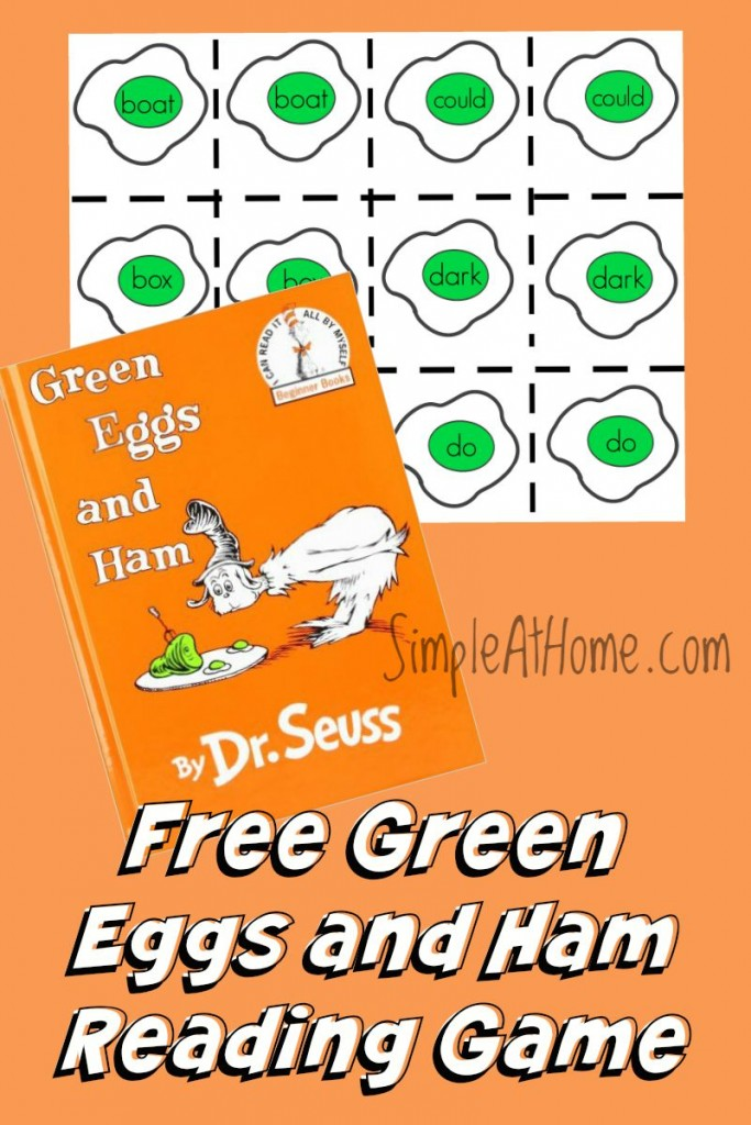 image about Printable Reading Games called Free of charge Printable: Environmentally friendly Eggs and Ham Increase With Me Recreation