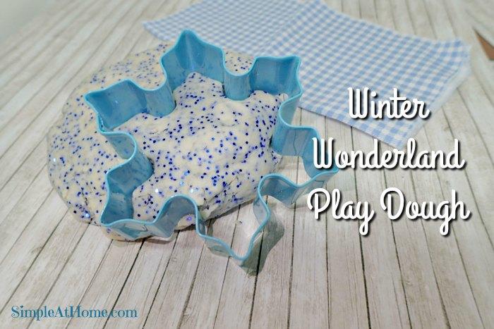 Make your own sparkle frozen inspired winter wonderland play dough.