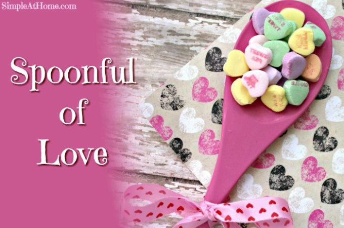 This spoonful of love craft is perfect for a last minute valentines gift pr stock up on conversation hearts on clearance fore mothers day gifts.