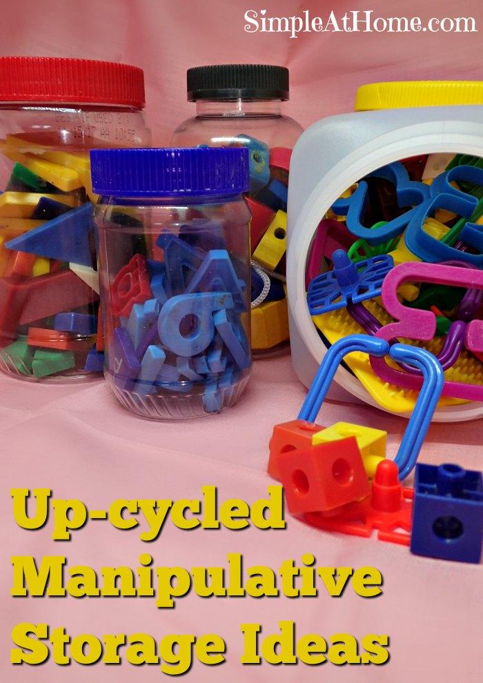 Up-cycled Manipulative Storage ideas