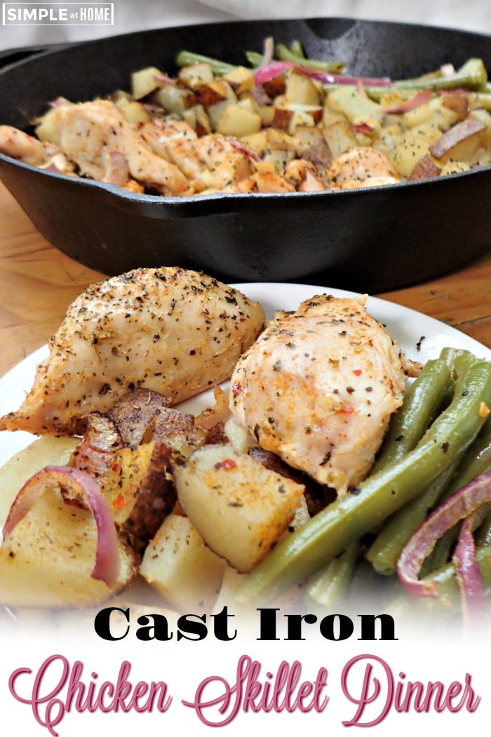 Simple Chicken Skillet Dinner anyone can make with chicken, green beans, and oven roasted potatoes with garlic and red onions.