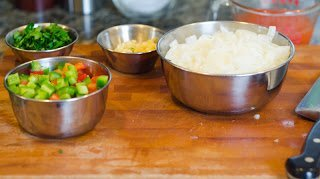 Chopped Beans and Rice Ingredients