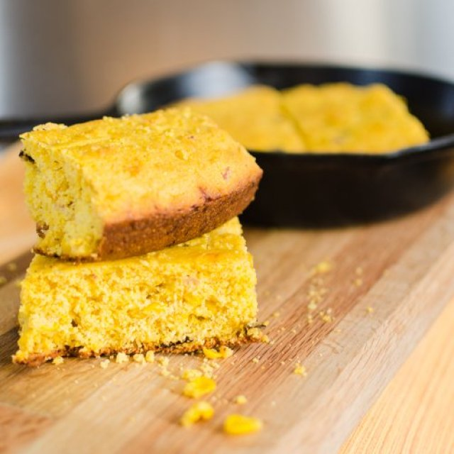 Cheddar Cornbread made in a Cast Iron Pan