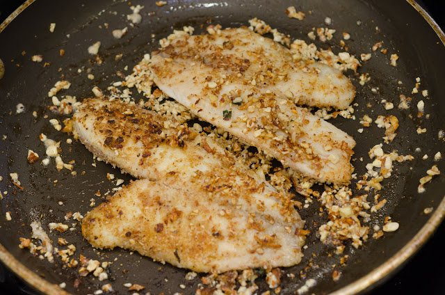 Cooking Tilapia with an Almond Crust in a Skillet