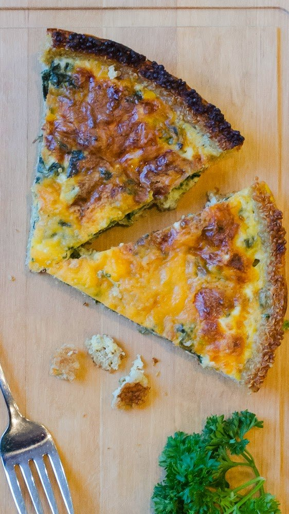 Quinoa Crust Quiche with Spinach and Cheddar