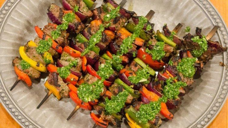 Chimichurri Steak Skewers with Extra Chimichurri on Top