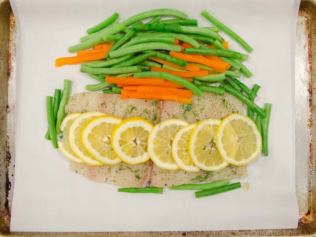 Arrange the halibut and vegetables inside the parchment paper