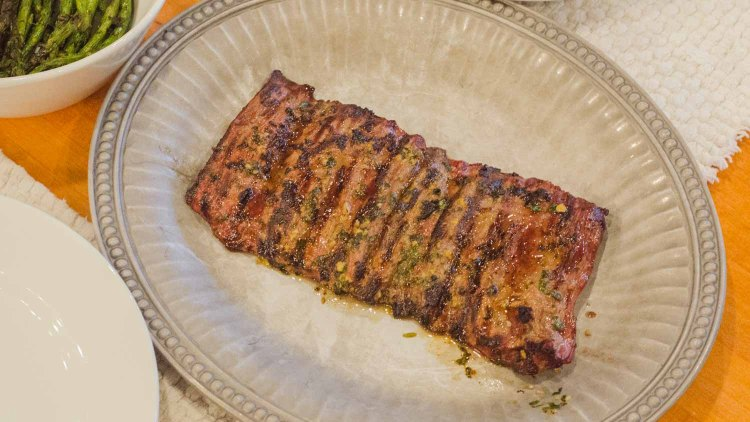 Grilled Skirt Steak with a garlic, cilantro and lime juice rub