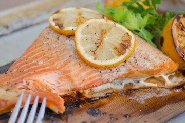 Salmon on a Cedar Plank with Lemons