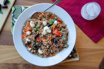 Wheatberry Salad with Roasted Red Peppers, Olives and Basil