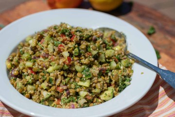 Bowl with Mediterranean Lentil Vegetable Salad