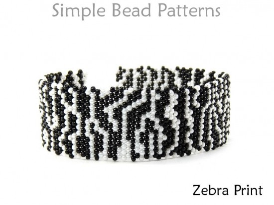 Zebra Print Beaded Brick Stitch Beading Pattern DIY