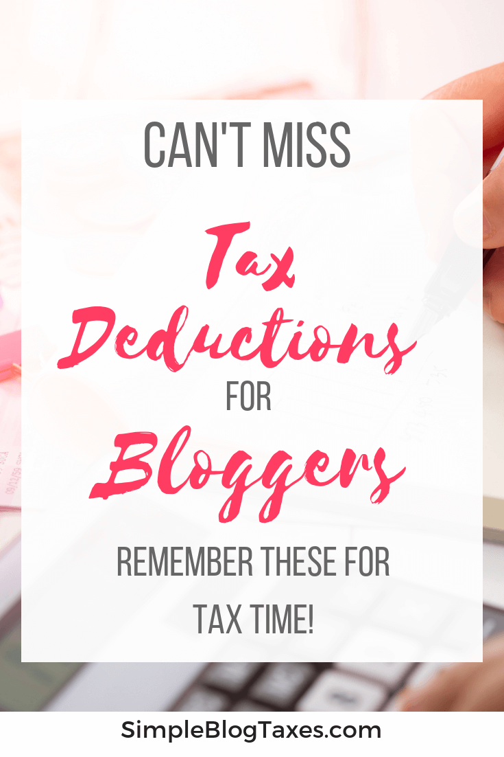 Tax deductions for bloggers. 14 of the most common tax deductions for small businesses and bloggers. Keep these for tax time! #SmallBusiness #BloggingTips #BloggingTaxes #MakingMoneyBlogging #taxes #TaxDeductions #BlogBookkeeping SimpleBlogTaxes.com