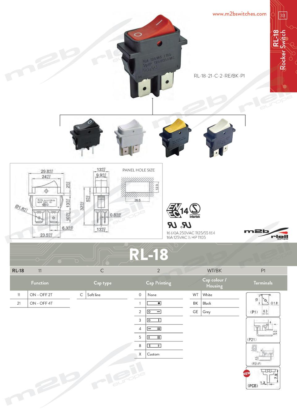 hight resolution of www m2bswitches com rl 18 rocker switch 33 rl 18 21